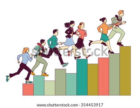 Business people run on graph diagram. Group people run forward. Color vector illustration. EPS8