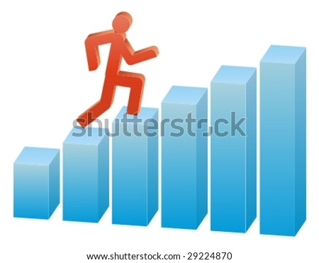 Business people run on the graph - stock vector
