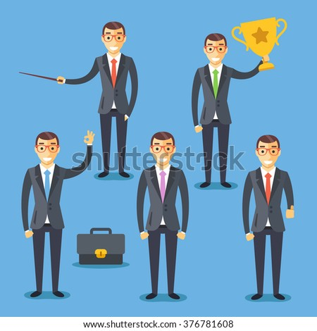 Business people set. Flat illustrations and flat design graphic for websites, web banners, web and mobile apps, infographics, printed materials. Modern vector illustration isolated on blue background - stock vector