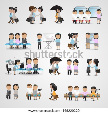 Business People Set - Isolated On Gray Background - Vector Illustration, Graphic Design Editable For Your Design - stock vector