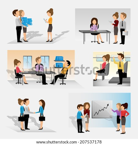 Business People Set - Isolated On Gray Background - Vector Illustration, Graphic Design Editable For Your Design. Team Working In Office - stock vector