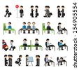 Business People Set - Isolated On White Background - Vector Illustration, Graphic Design Editable For Your Design - stock