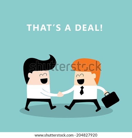 Business people shaking hands. Businessmen making a deal, successful business concept. Vector illustration - stock vector