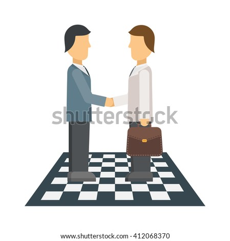 Business people shaking hands, finishing up meeting, office teamwork group corporate male vector. Professional conference business meeting and occupation strategy business meeting. - stock vector