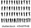 Business People Silhouette Super Set 52 unique high-detailed silhouettes featuring beautiful sexy models Each Silhouette is grouped File is AI 8 compatible and easy to manage - stock photo