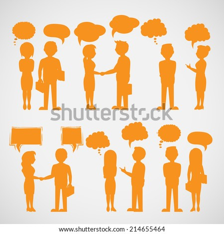 Business People Silhouette With Speech Bubbles - Isolated On Gray Background - Vector Illustration, Graphic Design Editable For Your Design - stock vector