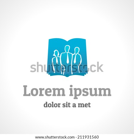 Business people silhouettes and book logo template - stock vector