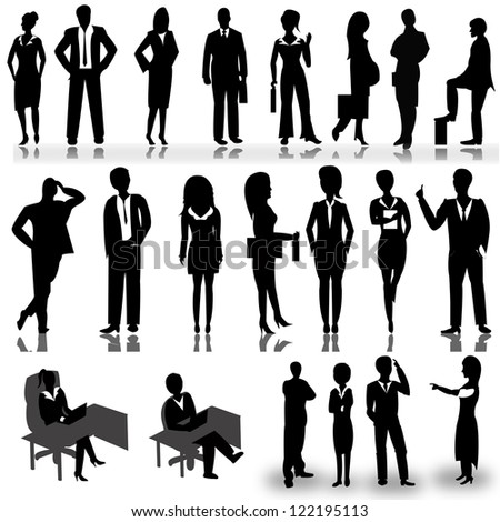 Business people silhouettes isolated on white background - Vector illustration
