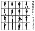 business people silhouettes set - stock photo
