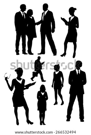 Business people silhouettes set - stock vector