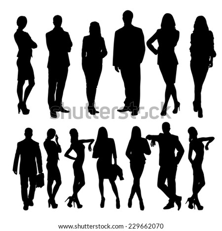 business people silhouettes vector illustration - stock vector
