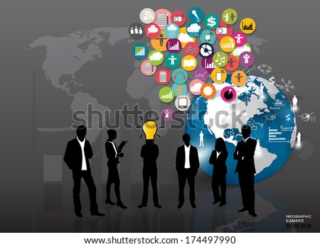 Business people silhouettes with cloud of application icons. Vector illustration.