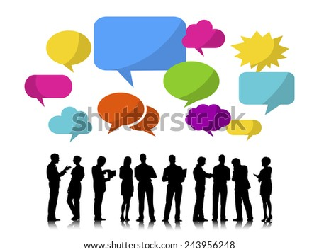 Business People Silhouettes Working and Speech Bubbles - stock vector