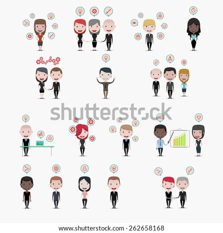 Business people: Skills icons - stock vector