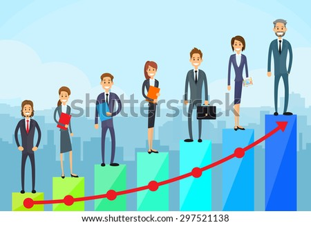 Business People Standing Financial Bar Graph Group Concept Businesspeople Team Vector Growth Chart Illustration - stock vector