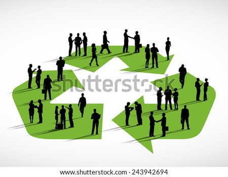 Business people standing on a symbol of recycling. - stock vector