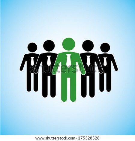 business people standing with leader - stock vector