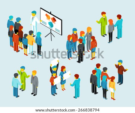 Business people. Team communication, discussion meeting businesswomen and businessmen, vector illustration - stock vector