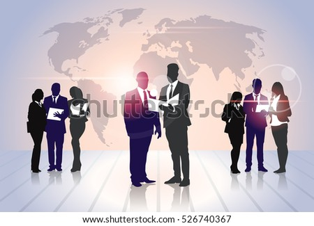 Business People Team Crowd Silhouette Businesspeople Group Hold Document Folders Over World Map Flat Vector Illustration