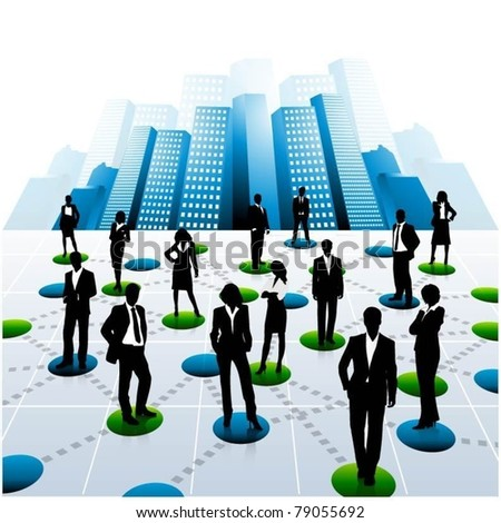 business people team in the city-vector - stock vector