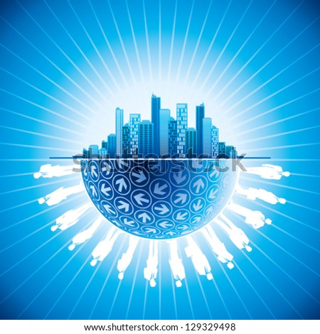 business people team in the city with globe - stock vector