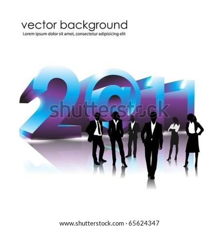 business people team in 2011. vector - stock vector