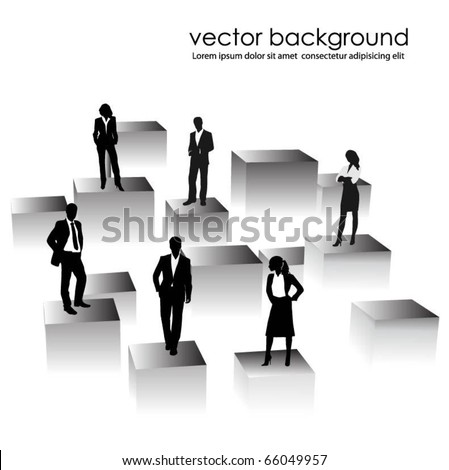 business people team on cubes - stock vector