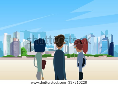 Business People Team Singapore City View Skyscraper Businesspeople Over Background Skyline Cityscape Flat Vector Illustration - stock vector