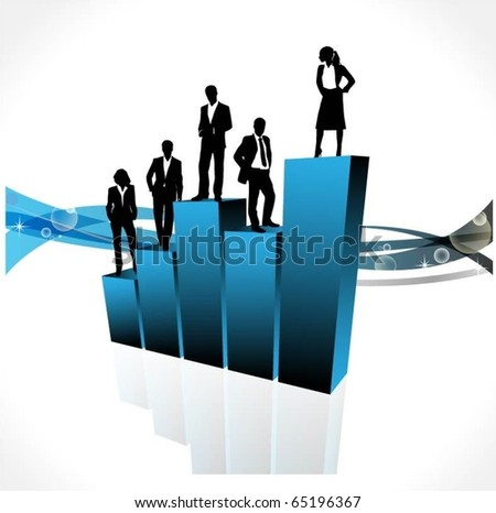 business people team standing on a 3d vector graph