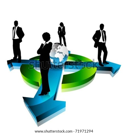 business people team standing on arrows with globe