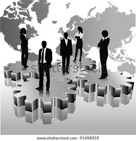 business people team standing on 3d gears with world map-vector