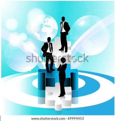 business people team standing on 3d puzzle pieces-vector - stock vector