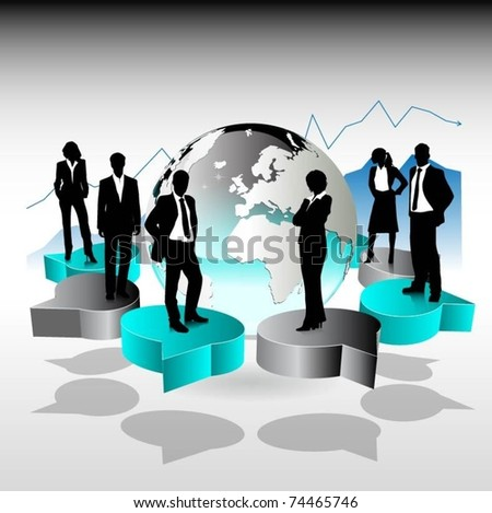 business people team standing on 3d speech bubbles-vector design - stock vector