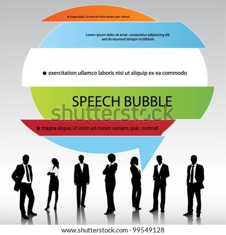 business people team with 3d speech bubbles. vector - stock vector