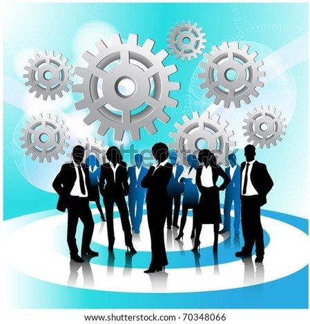 business people team with gears-vector - stock vector