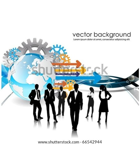 business people team with globe - stock vector