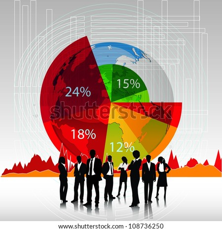 Business people team with pie chart background.Vector - stock vector