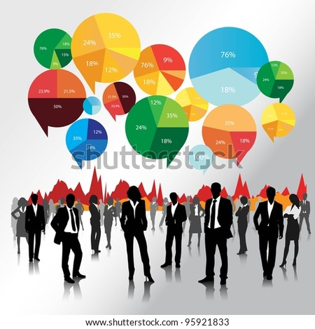 business people team with pie chart background.vector