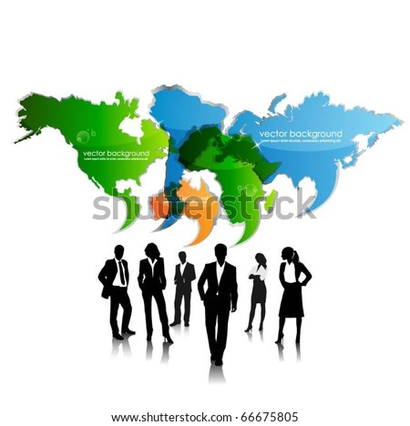 business people team with speech bubble continents - stock vector