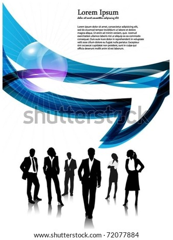 business people team with speech bubble vector - stock vector