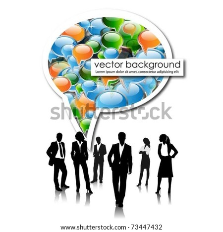 business people team with speech bubble -vector - stock vector