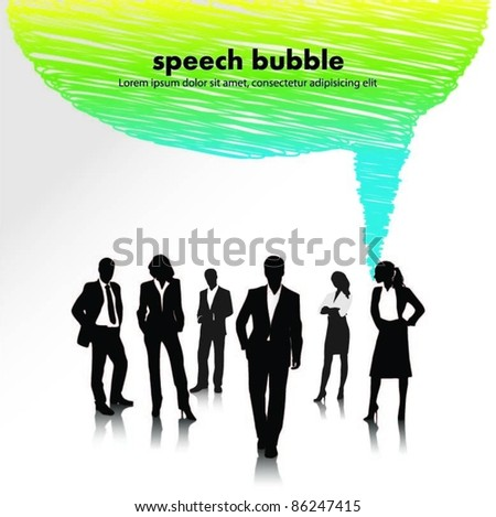 business people team with speech bubble-vector illustration - stock vector