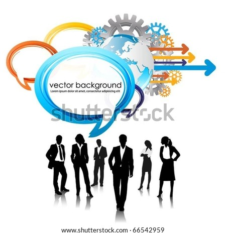 business people team with speech bubbles and globe - stock vector