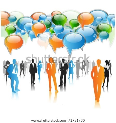 business people team with speech bubbles vector - stock vector