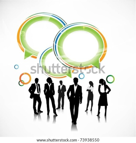 business people team with speech bubbles-vector - stock vector