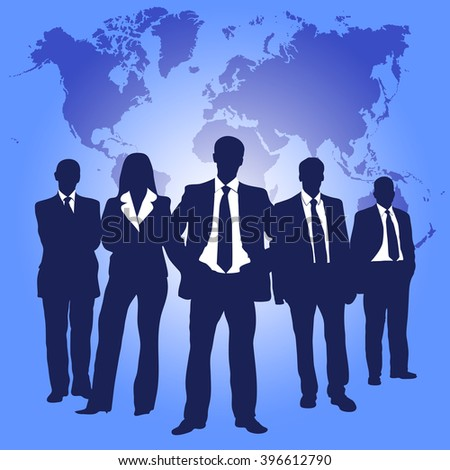 business people team with world map - stock vector