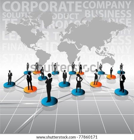 business people team with world map-vector - stock vector