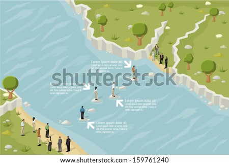 Business people trying to cross a river  - stock vector