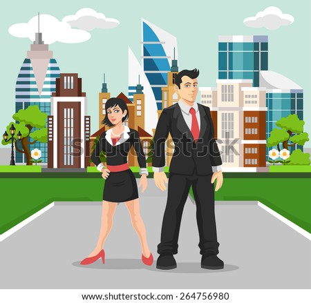 Business people vector flat illustration - stock vector