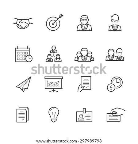 Business people vector icon set in thin line style - stock vector